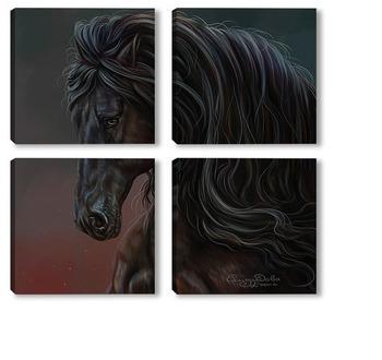 Модульная картина Конь вороной (фриз)