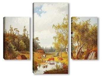 Модульная картина Пейзаж с коровами