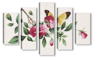 Модульная картина Бабочка и пионы
