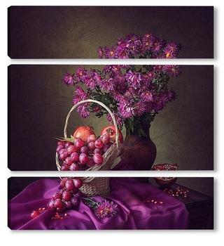 Модульная картина Натюрморт в пурпурных тонах
