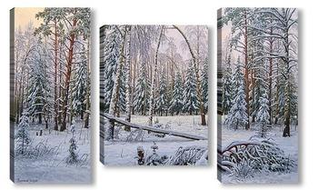 Модульная картина Снежный лес