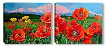 Модульная картина Маки. Красная поляна Сочи.