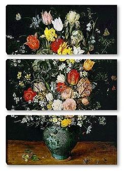 Модульная картина Букет цветов в голубой вазе