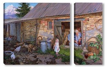 Модульная картина Из деревенской жизни