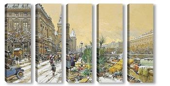 Модульная картина Дока с цветами и консьерж