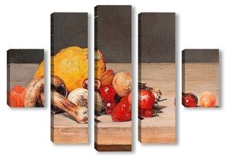 Модульная картина Натюрморт с лимоном и ягодами