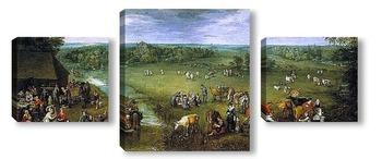 Модульная картина Жизнь Фламандской деревни