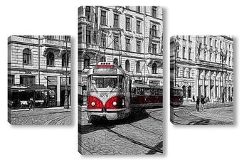 Модульная картина Пражский трамвай