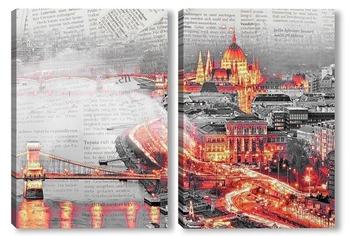 Модульная картина Ночной Будапешт