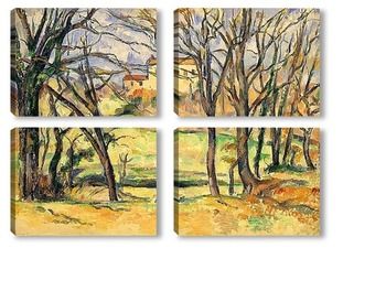 Модульная картина Деревья и дома на берегу Джас де Боуффан