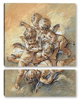 Модульная картина Шаловливые ангелы