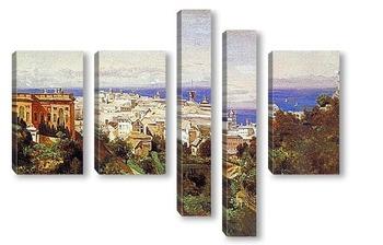 Модульная картина Вид Генуи спрогулочной площадки в Аска Сола.1843