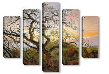 Модульная картина Дерево с воронами и тумулус на балтийском побережье