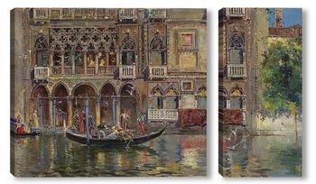 Модульная картина Гондола и венецианский дворец