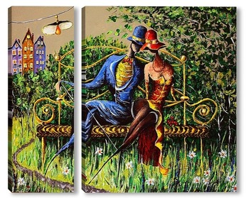 Модульная картина Любовь и скамейка