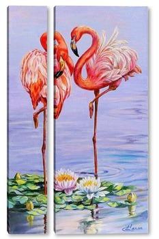 Модульная картина Свидание фламинго