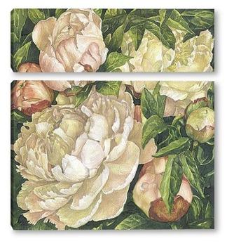 Модульная картина Утренние розовые пионы