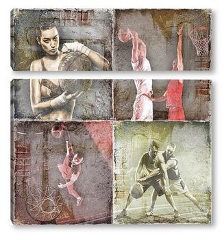 Модульная картина Баскетбольные игроки