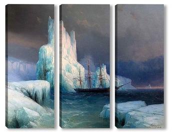 Модульная картина Ледяные горы в Антарктике. 1870