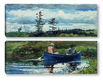 Модульная картина Синяя лодка