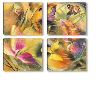 Модульная картина бабочки на ветру