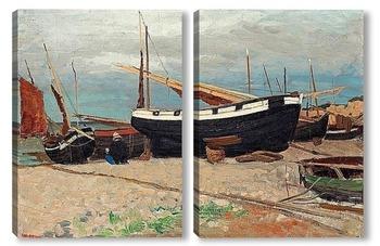 Модульная картина Прибрежная сцена из севера Франции