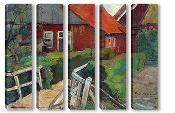 Модульная картина Фермерские здания с мостом