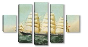 Модульная картина Британский корабль Лаомин в море под всеми парусами