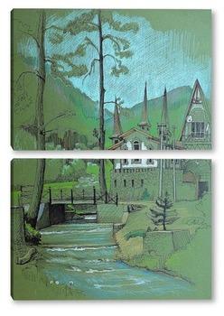 Модульная картина Горная речка