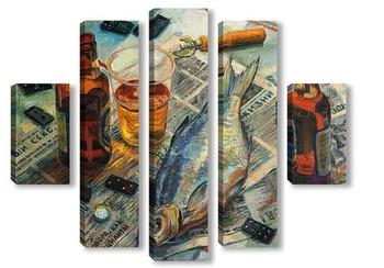 Модульная картина Лещ и пиво