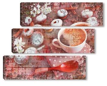 Модульная картина Кофе и кексы
