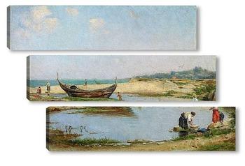 Модульная картина Женщины в бухте недалеко от пляжа