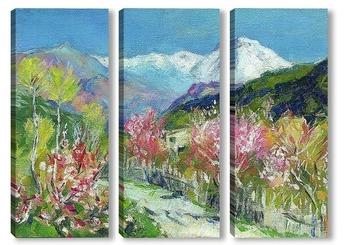 Модульная картина И. Левитан Горы.Италия (авторская копия)