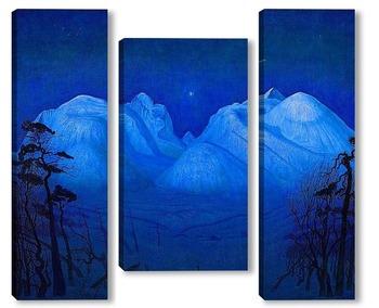Модульная картина Зимняя ночь в горах