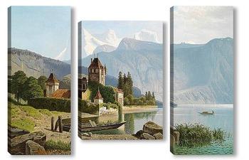 Модульная картина Замок Оберхофен на озере Тун, Швейцария