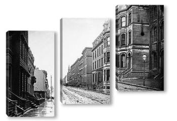 Модульная картина Припаркованные экипажи на фешенебельной улице Филадельфии.