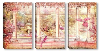 Модульная картина Панорама цветущего сада