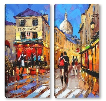 Модульная картина Гуляя по Парижу