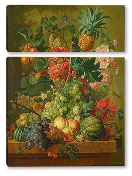 Модульная картина Фрукты и цветы