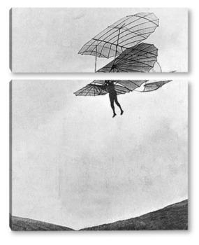 Модульная картина Немецкий авиаконструктор Отто Лилиенталь на планере,1896г.