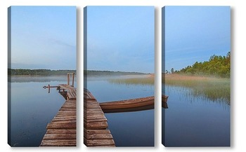 Модульная картина Туманное утро на озере
