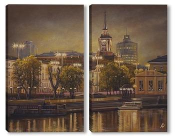 Модульная картина Вечерний Екатеринбург, вид на Администрацию города
