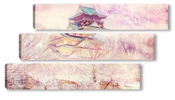Модульная картина Замок в Осаке