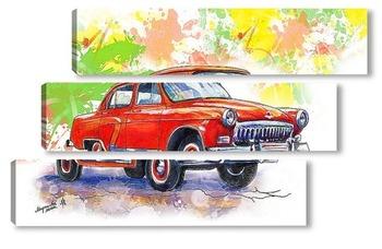 Модульная картина красная старинная машина
