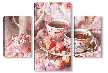 Модульная картина Вкусный кофе и макаруны