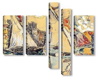 Модульная картина Сен-Тропе,парусники