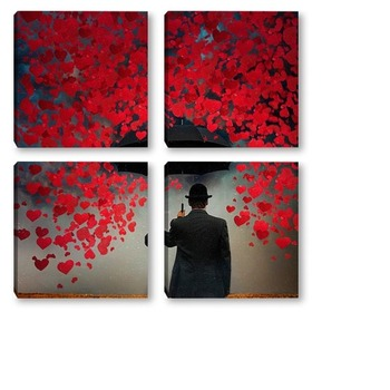 Модульная картина Бумажные сердца