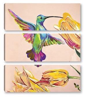 Модульная картина Райская пташка. Колибри