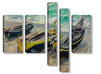Модульная картина Три рыбацкие лодки