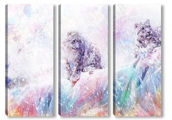 Модульная картина Снежные барсы